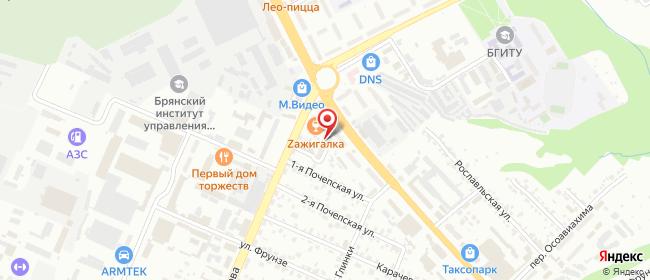 Карта расположения пункта доставки Пункт выдачи в городе Брянск
