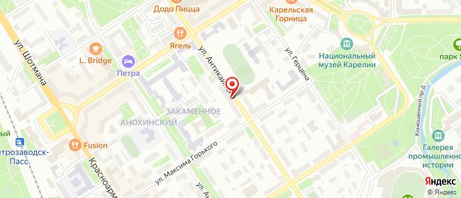 Карта расположения пункта доставки Петрозаводск Антикайнена в городе Петрозаводск