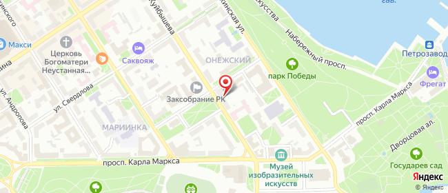Карта расположения пункта доставки Петрозаводск Куйбышева в городе Петрозаводск