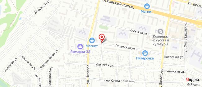 Карта расположения пункта доставки Халва в городе Брянск