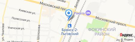 Киоск по продаже колбасно-молочной продукции на карте Брянска