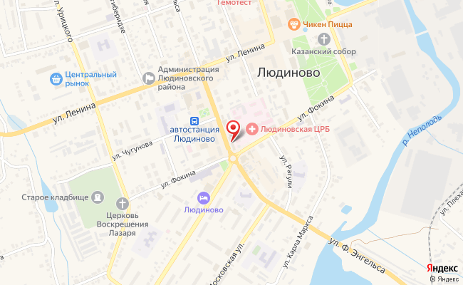 Карта расположения пункта доставки Билайн в городе Людиново