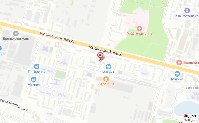 Карта расположения пункта доставки Билайн в городе Брянск