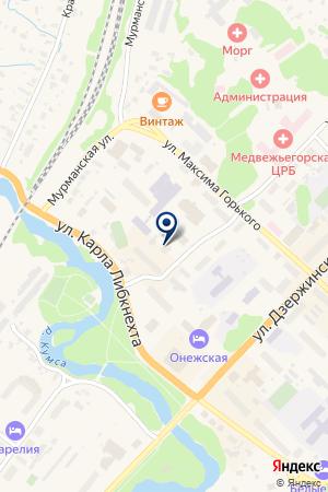 МУ КОМБИНАТ ШКОЛЬНОГО ПИТАНИЯ ШКОЛЬНИК на карте Медвежьегорска