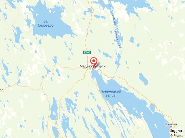 Медвежьегорск на карте
