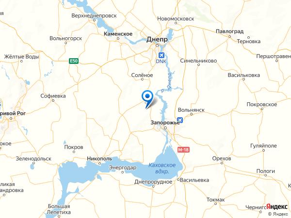село Зоряное на карте