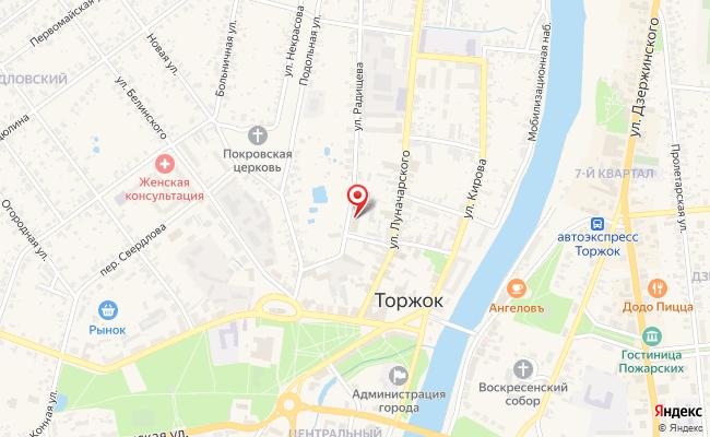 Карта расположения пункта доставки Торжок Радищева в городе Торжок