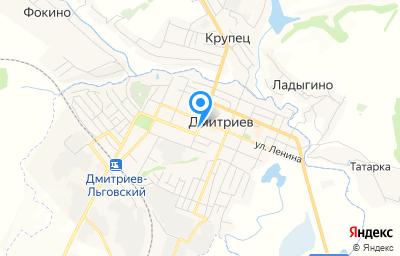 Местоположение на карте пункта техосмотра по адресу Курская обл, Дмитриевский р-н, г Дмитриев, ул Комсомольская, д 16В