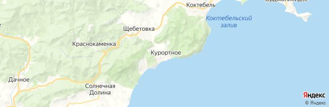 Курортное на карте