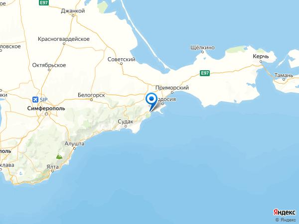 посёлок городского типа Коктебель на карте