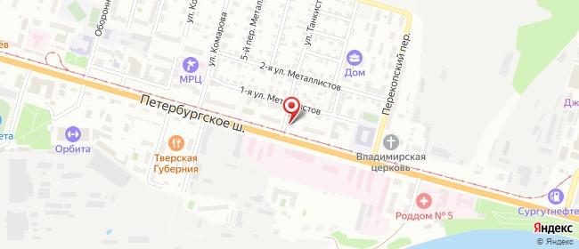 Карта расположения пункта доставки Тверь Петербургское в городе Тверь