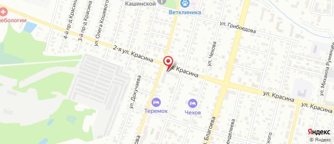 Карта расположения пункта доставки Красина в городе Тверь