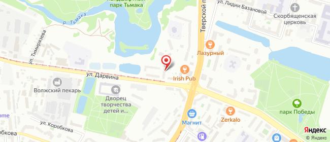 Карта расположения пункта доставки Тверь Дарвина в городе Тверь