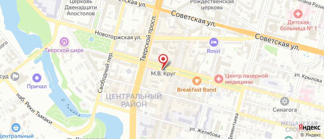 Карта расположения пункта доставки СИТИЛИНК в городе Тверь