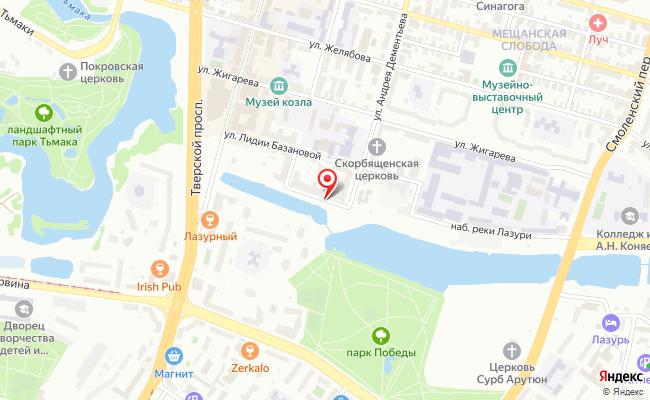 Карта расположения пункта доставки Тверь Базановой в городе Тверь