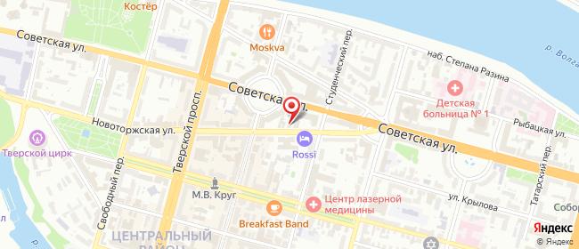 Карта расположения пункта доставки Тверь Новоторжская в городе Тверь