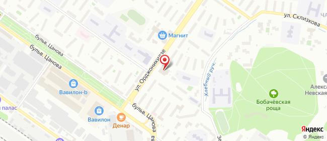 Карта расположения пункта доставки Тверь Орджоникидзе в городе Тверь