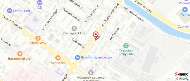 Карта расположения пункта доставки На Орджоникидзе в городе Тверь