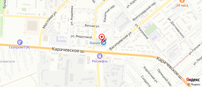 Карта расположения пункта доставки Орел Карачевское в городе Орёл