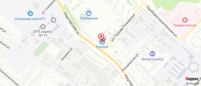 Карта расположения пункта доставки Орел Наугорское  в городе Орёл