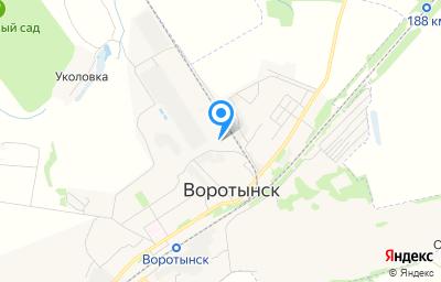 Местоположение на карте пункта техосмотра по адресу Калужская обл, Бабынинский р-н, п Воротынск, ул Промышленная, д 11
