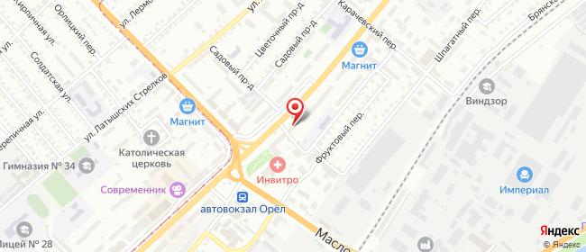 Карта расположения пункта доставки Орел Комсомольская в городе Орёл
