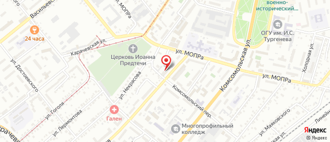 Карта расположения пункта доставки Орел Латышских Стрелков в городе Орёл