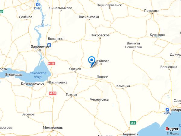село Гуляйпольское на карте