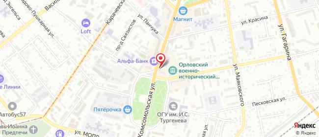 Карта расположения пункта доставки Билайн в городе Орёл