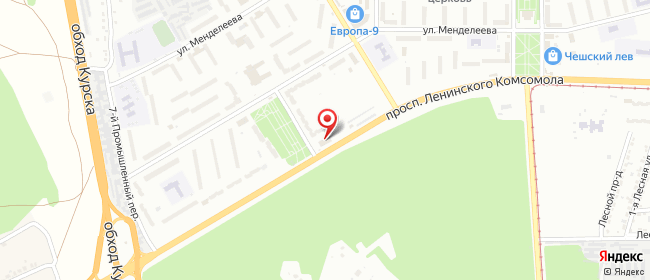 Карта расположения пункта доставки Курск Ленинского Комсомола в городе Курск
