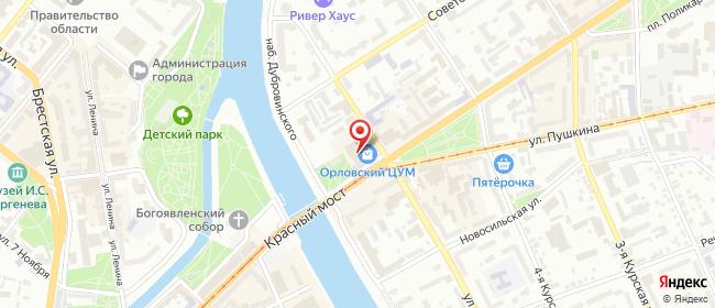 Карта расположения пункта доставки Орел Мира в городе Орёл