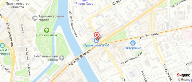 Карта расположения пункта доставки ПВЗ Экспресс-Логистик в городе Орёл