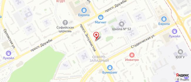 Карта расположения пункта доставки Курск Энтузиастов в городе Курск