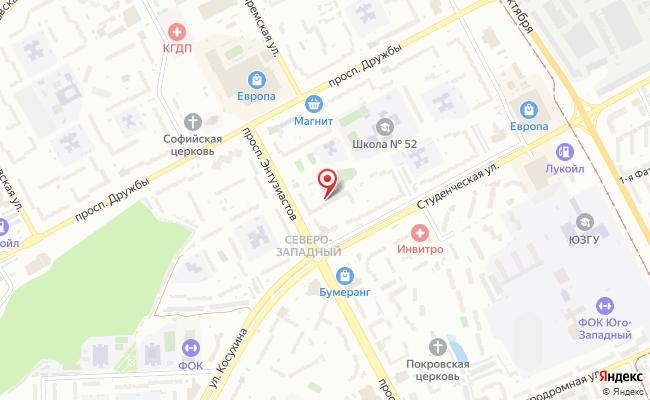 Карта расположения пункта доставки ИП Чернышова в городе Курск