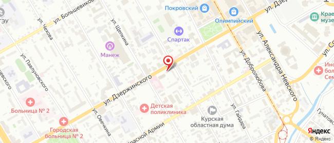Карта расположения пункта доставки Курск Дзержинского в городе Курск