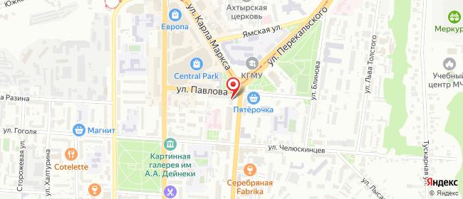 Карта расположения пункта доставки Билайн в городе Курск