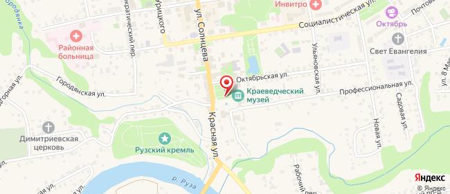 Карта расположения пункта доставки Ростелеком в городе Руза