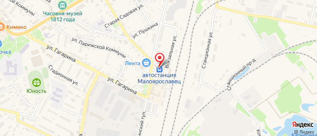 Карта расположения пункта доставки Малоярославец 17 Стрелковой Дивизии в городе Малоярославец