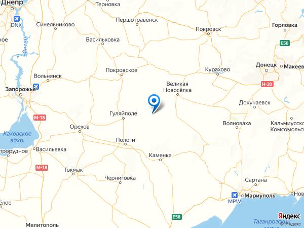 село Вишневое на карте