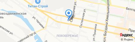 Магазин канцтоваров и швейной фурнитуры на карте Белгорода