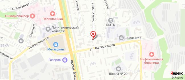Карта расположения пункта доставки Белгород Железнякова в городе Белгород