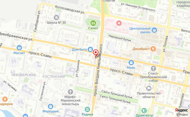 Карта расположения пункта доставки Ростелеком в городе Белгород