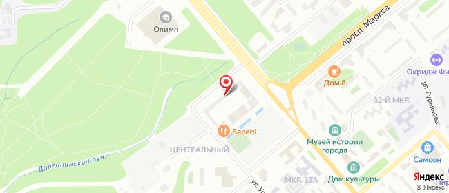 Карта расположения пункта доставки Обнинск Ленина в городе Обнинск