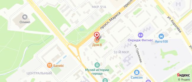 Карта расположения пункта доставки Обнинск Маркса в городе Обнинск