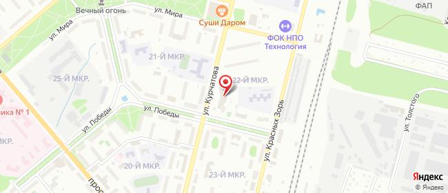 Карта расположения пункта доставки Обнинск Курчатова в городе Обнинск