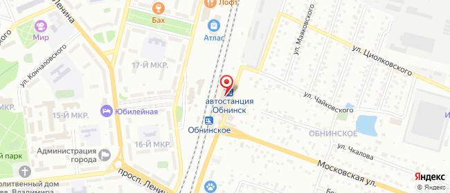 Карта расположения пункта доставки Обнинск Железнодорожная в городе Обнинск