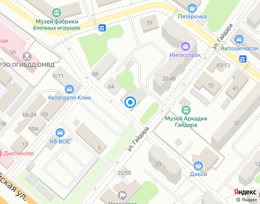 Управляющая компания «Клинская Теплосеть» на карте Клина