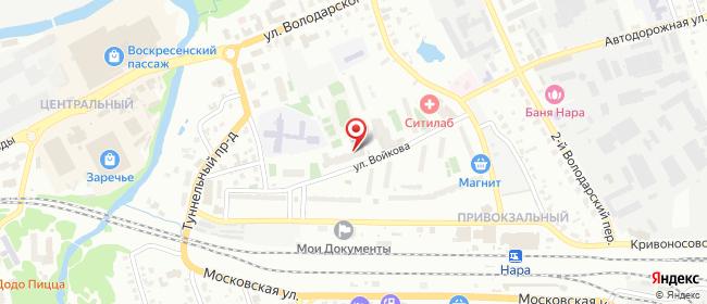 Карта расположения пункта доставки Наро-Фоминск Войкова в городе Наро-Фоминск