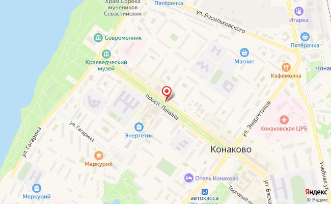Карта расположения пункта доставки Билайн в городе Конаково