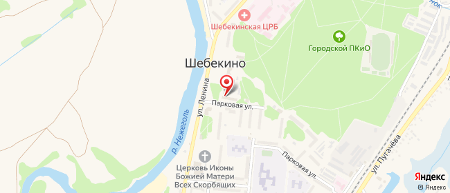 Карта расположения пункта доставки Ростелеком в городе Шебекино
